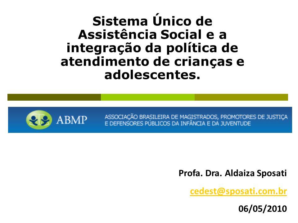 Sistema Único de Assistência Social e a integração da política de atendimento de crianças e adolescentes. Profa. Dra. Aldaiza Sposati cedest@sposati.c