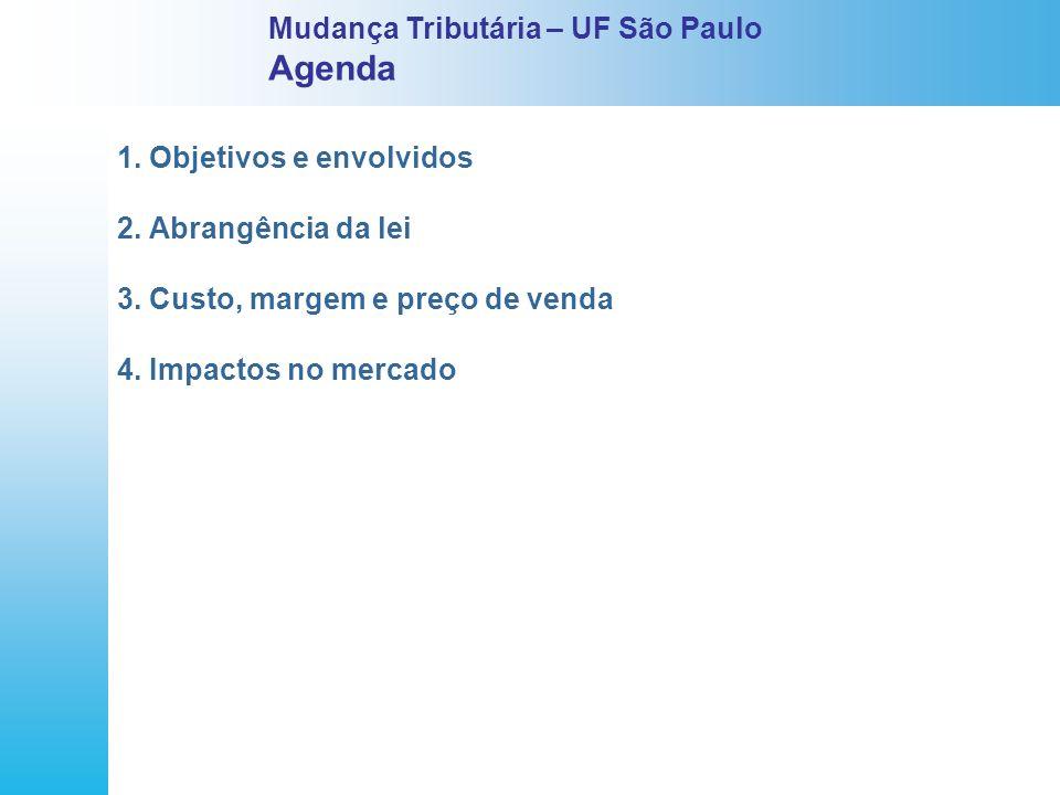 1. Objetivos e envolvidos 2. Abrangência da lei 3. Custo, margem e preço de venda 4. Impactos no mercado Mudança Tributária – UF São Paulo Agenda