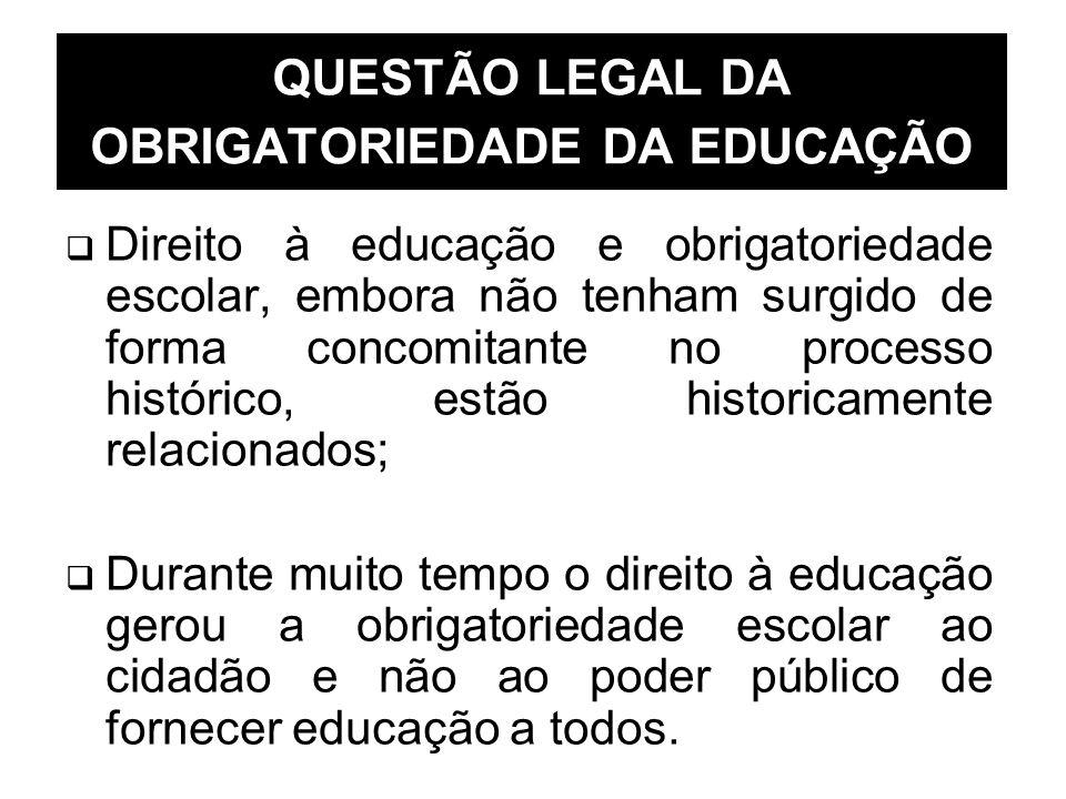 Direito à educação e obrigatoriedade escolar, embora não tenham surgido de forma concomitante no processo histórico, estão historicamente relacionados
