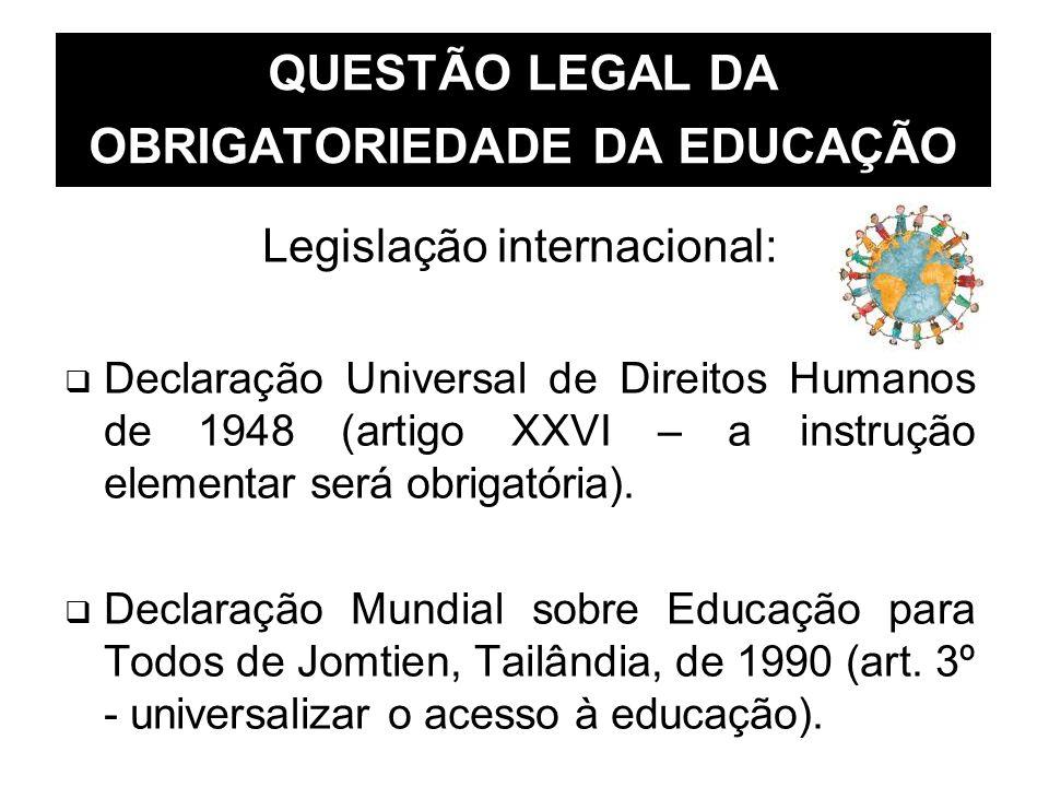 QUESTÃO LEGAL DA OBRIGATORIEDADE DA EDUCAÇÃO Legislação internacional: Declaração Universal de Direitos Humanos de 1948 (artigo XXVI – a instrução ele