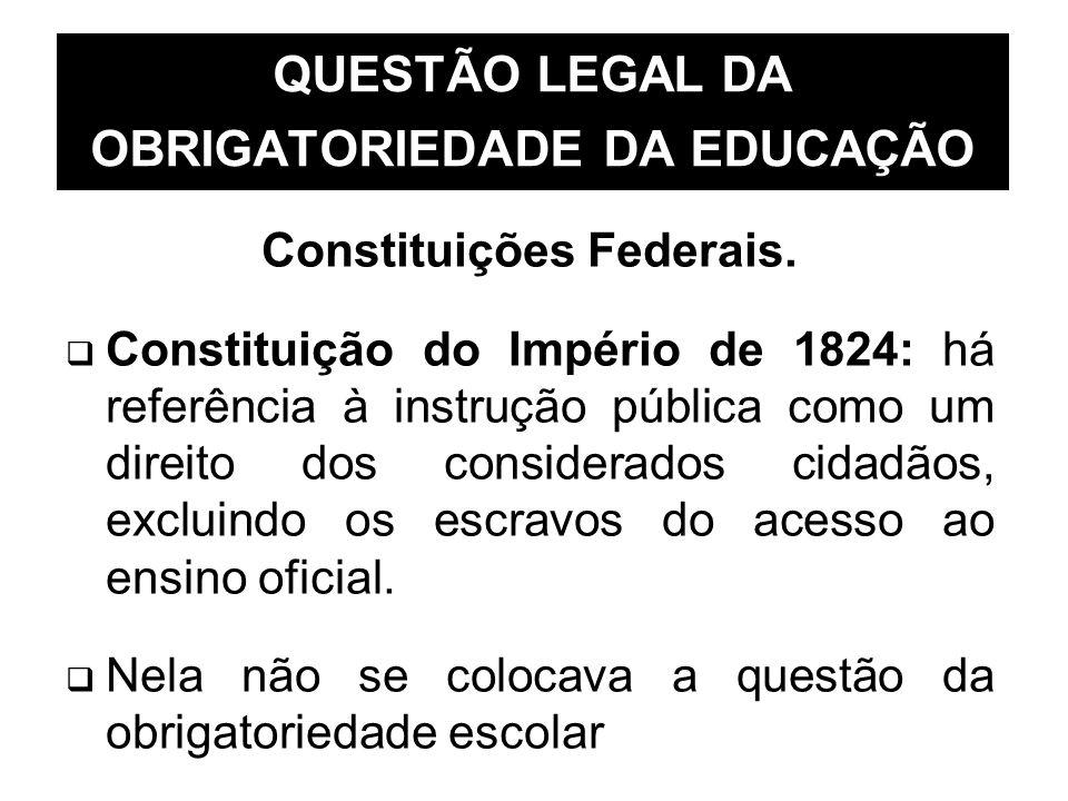 QUESTÃO LEGAL DA OBRIGATORIEDADE DA EDUCAÇÃO Constituições Federais. Constituição do Império de 1824: há referência à instrução pública como um direit