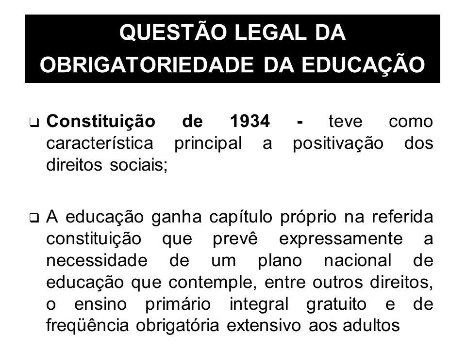 QUESTÃO LEGAL DA OBRIGATORIEDADE DA EDUCAÇÃO Constituição de 1934 - teve como característica principal a positivação dos direitos sociais; A educação