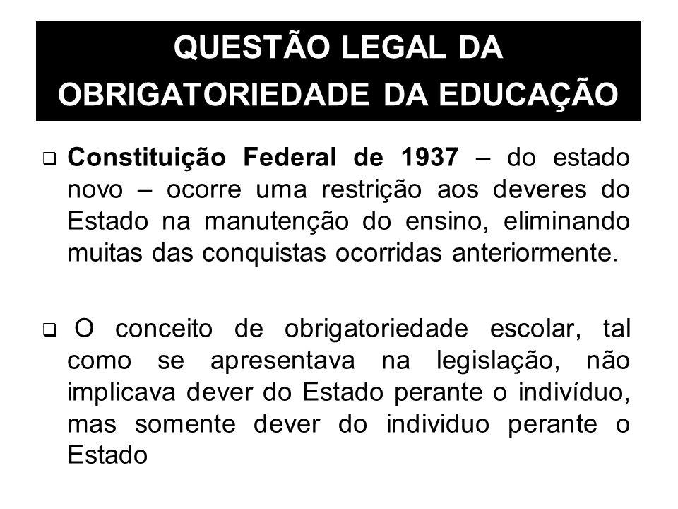 QUESTÃO LEGAL DA OBRIGATORIEDADE DA EDUCAÇÃO Constituição Federal de 1937 – do estado novo – ocorre uma restrição aos deveres do Estado na manutenção