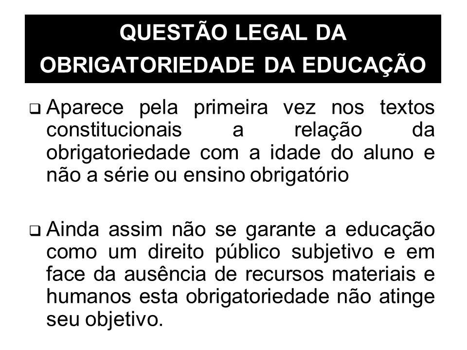 QUESTÃO LEGAL DA OBRIGATORIEDADE DA EDUCAÇÃO Aparece pela primeira vez nos textos constitucionais a relação da obrigatoriedade com a idade do aluno e