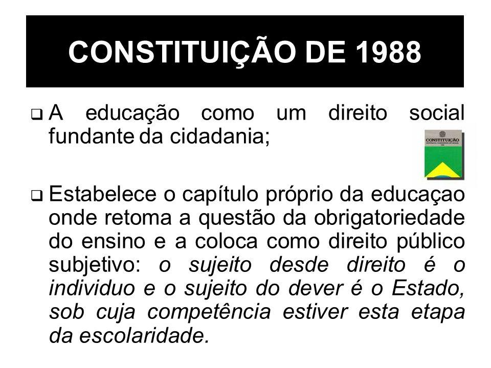 CONSTITUIÇÃO DE 1988 A educação como um direito social fundante da cidadania; Estabelece o capítulo próprio da educação onde retoma a questão da obrig