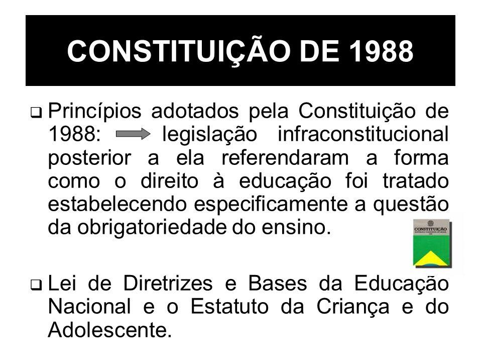 CONSTITUIÇÃO DE 1988 Princípios adotados pela Constituição de 1988: legislação infraconstitucional posterior a ela referendaram a forma como o direito