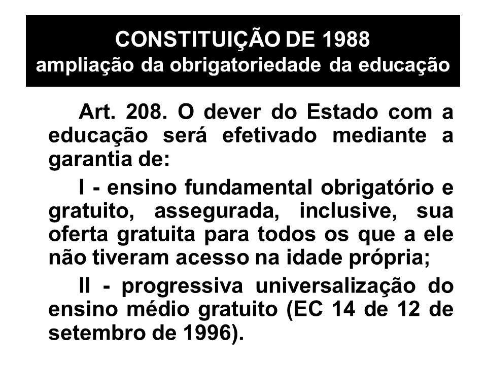 CONSTITUIÇÃO DE 1988 ampliação da obrigatoriedade da educação Art. 208. O dever do Estado com a educação será efetivado mediante a garantia de: I - en