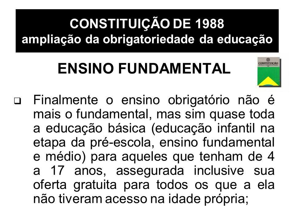 CONSTITUIÇÃO DE 1988 ampliação da obrigatoriedade da educação ENSINO FUNDAMENTAL Finalmente o ensino obrigatório não é mais o fundamental, mas sim qua