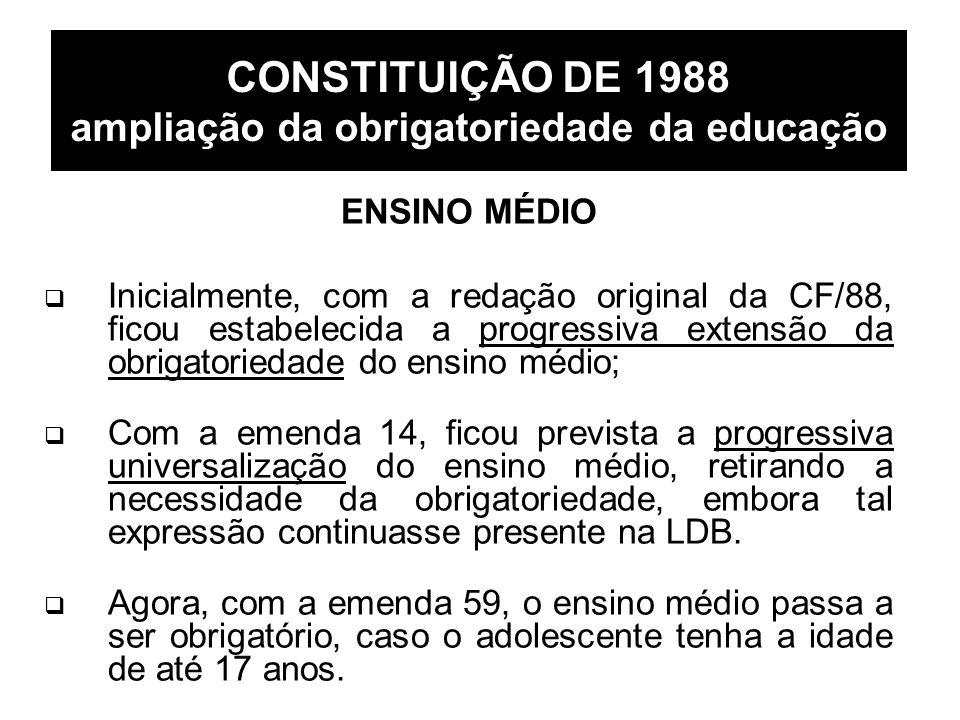 CONSTITUIÇÃO DE 1988 ampliação da obrigatoriedade da educação ENSINO MÉDIO Inicialmente, com a redação original da CF/88, ficou estabelecida a progres