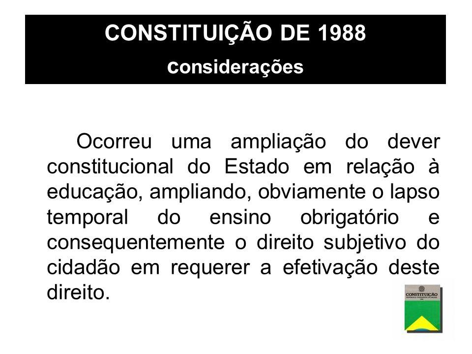 CONSTITUIÇÃO DE 1988 c onsiderações Ocorreu uma ampliação do dever constitucional do Estado em relação à educação, ampliando, obviamente o lapso tempo