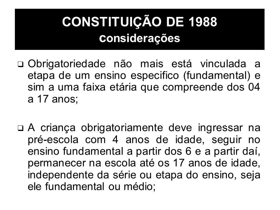 CONSTITUIÇÃO DE 1988 c onsiderações Obrigatoriedade não mais está vinculada a etapa de um ensino especifico (fundamental) e sim a uma faixa etária que