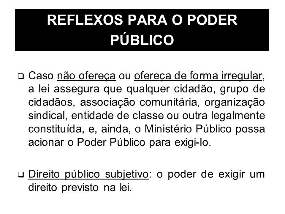 REFLEXOS PARA O PODER PÚBLICO Caso não ofereça ou ofereça de forma irregular, a lei assegura que qualquer cidadão, grupo de cidadãos, associação comun