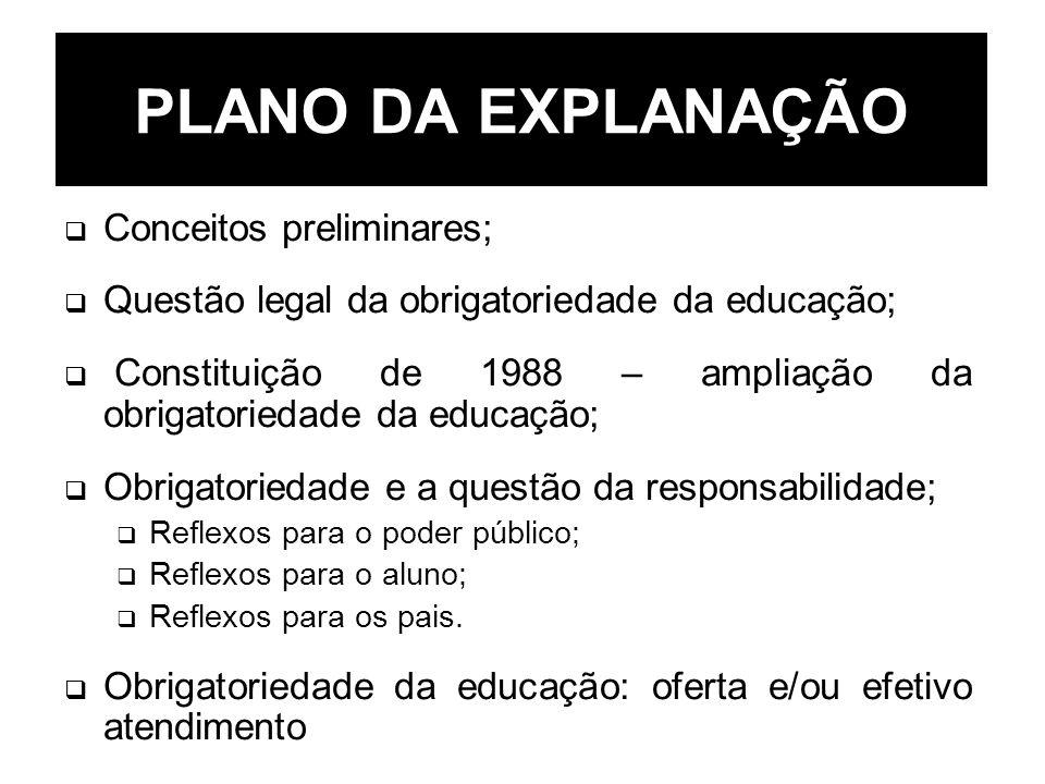 PLANO DA EXPLANAÇÃO Conceitos preliminares; Questão legal da obrigatoriedade da educação; Constituição de 1988 – ampliação da obrigatoriedade da educa