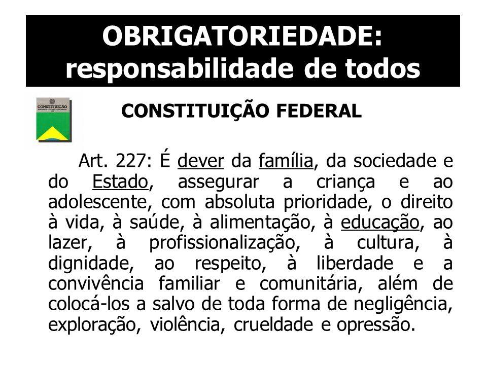 OBRIGATORIEDADE: responsabilidade de todos CONSTITUIÇÃO FEDERAL Art. 227: É dever da família, da sociedade e do Estado, assegurar a criança e ao adole