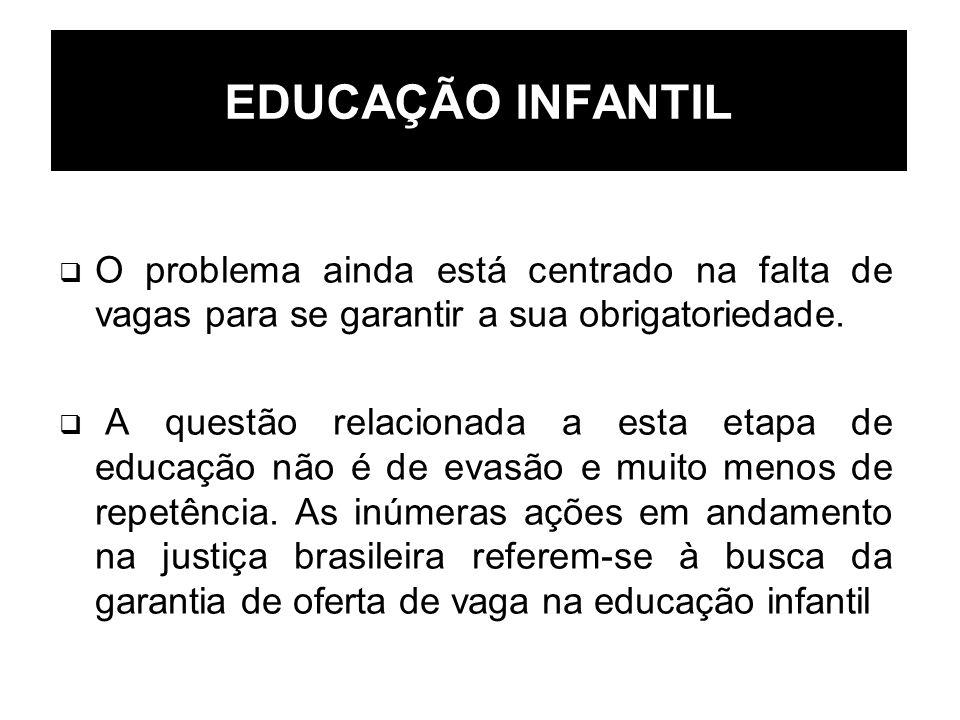 EDUCAÇÃO INFANTIL O problema ainda está centrado na falta de vagas para se garantir a sua obrigatoriedade. A questão relacionada a esta etapa de educa
