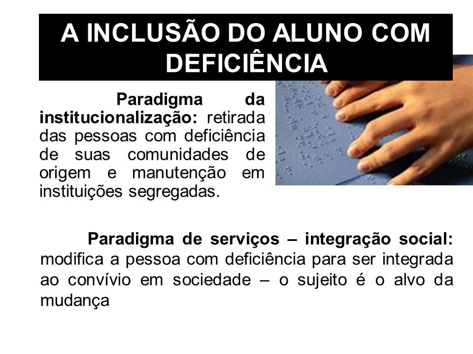A INCLUSÃO DO ALUNO COM DEFICIÊNCIA Paradigma da institucionalização: retirada das pessoas com deficiência de suas comunidades de origem e manutenção
