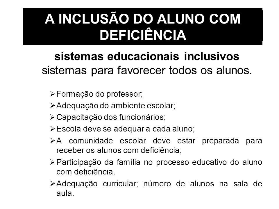 A INCLUSÃO DO ALUNO COM DEFICIÊNCIA sistemas educacionais inclusivos sistemas para favorecer todos os alunos. Formação do professor; Adequação do ambi