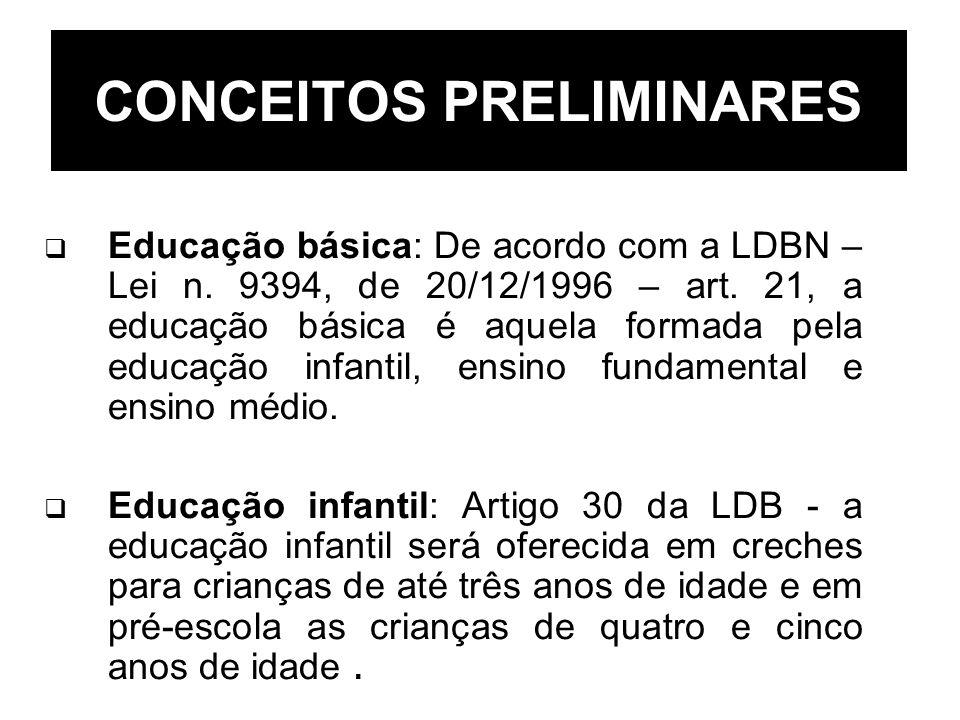 CONCEITOS PRELIMINARES Educação básica: De acordo com a LDBN – Lei n. 9394, de 20/12/1996 – art. 21, a educação básica é aquela formada pela educação