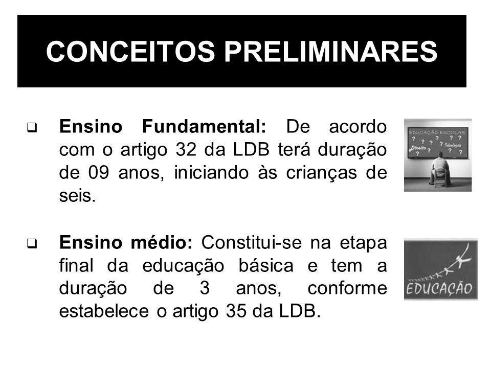 Ensino Fundamental: De acordo com o artigo 32 da LDB terá duração de 09 anos, iniciando às crianças de seis. Ensino médio: Constitui-se na etapa final