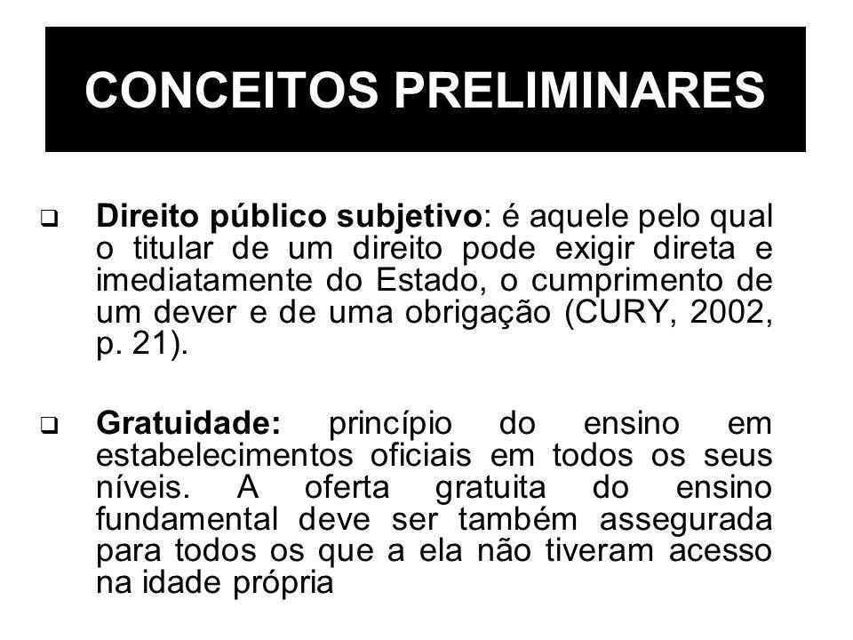 Direito público subjetivo: é aquele pelo qual o titular de um direito pode exigir direta e imediatamente do Estado, o cumprimento de um dever e de uma
