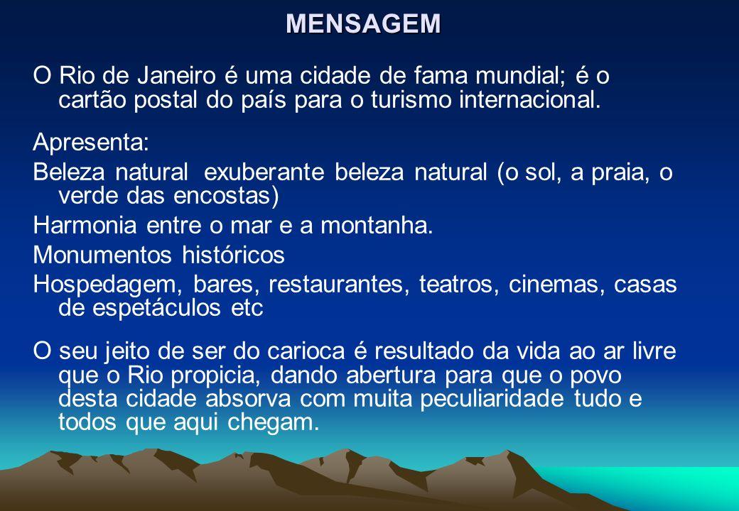 MENSAGEM O Rio de Janeiro é uma cidade de fama mundial; é o cartão postal do país para o turismo internacional. Apresenta: Beleza natural exuberante b