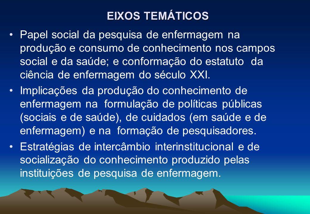 EIXOS TEMÁTICOS Papel social da pesquisa de enfermagem na produção e consumo de conhecimento nos campos social e da saúde; e conformação do estatuto d