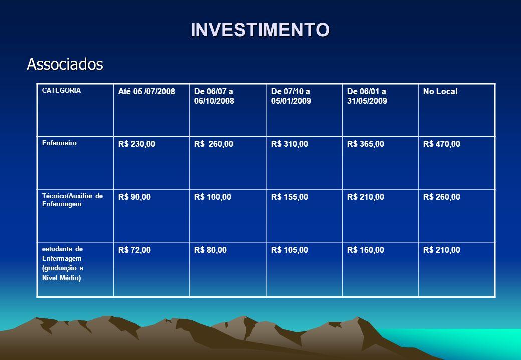 INVESTIMENTO Associados CATEGORIA Até 05 /07/2008De 06/07 a 06/10/2008 De 07/10 a 05/01/2009 De 06/01 a 31/05/2009 No Local Enfermeiro R$ 230,00R$ 260