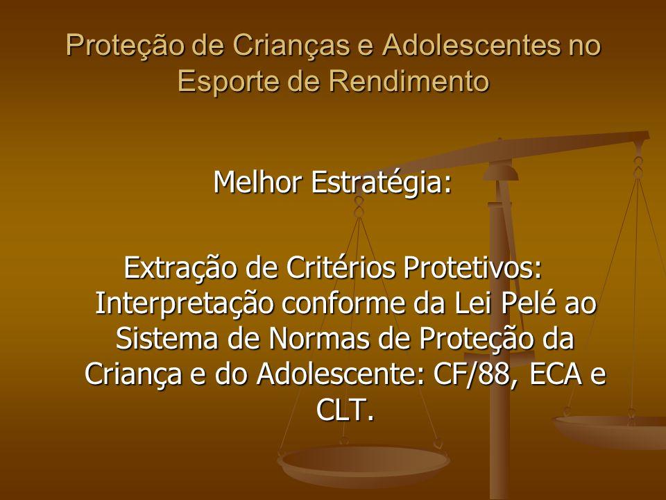 Proteção de Crianças e Adolescentes no Esporte de Rendimento Melhor Estratégia: Extração de Critérios Protetivos: Interpretação conforme da Lei Pelé ao Sistema de Normas de Proteção da Criança e do Adolescente: CF/88, ECA e CLT.