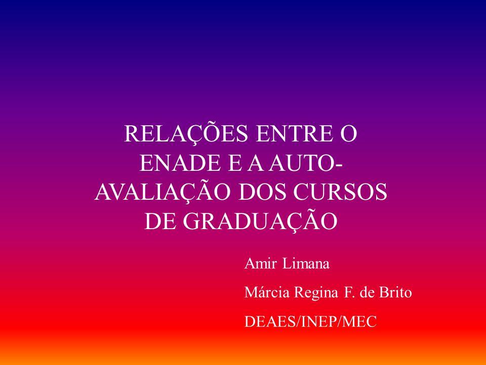 RELAÇÕES ENTRE O ENADE E A AUTO- AVALIAÇÃO DOS CURSOS DE GRADUAÇÃO Amir Limana Márcia Regina F.
