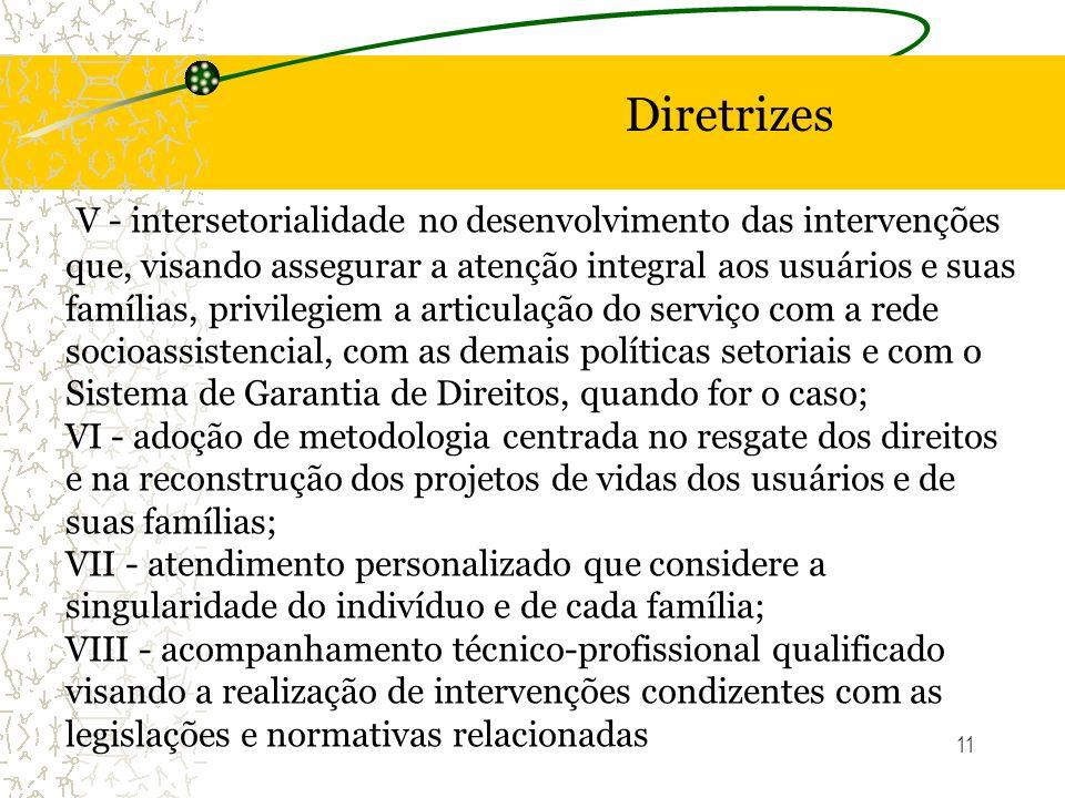 11 Diretrizes V - intersetorialidade no desenvolvimento das intervenções que, visando assegurar a atenção integral aos usuários e suas famílias, privi