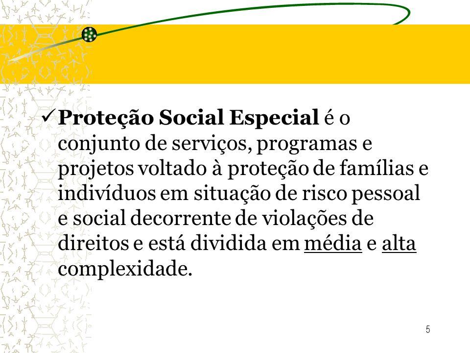 5 Proteção Social Especial é o conjunto de serviços, programas e projetos voltado à proteção de famílias e indivíduos em situação de risco pessoal e s