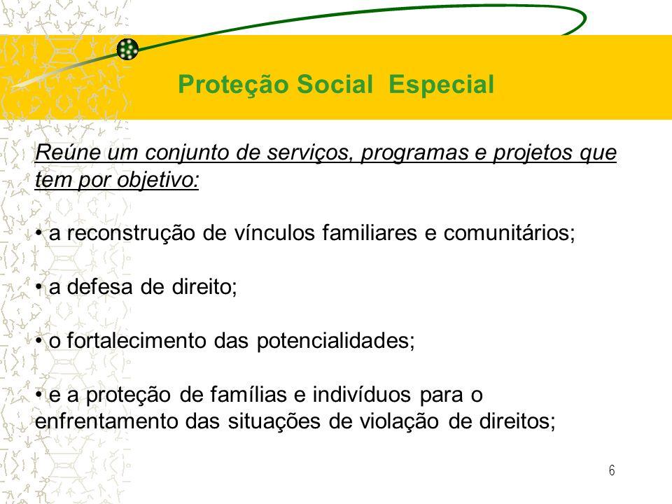 6 Reúne um conjunto de serviços, programas e projetos que tem por objetivo: a reconstrução de vínculos familiares e comunitários; a defesa de direito;