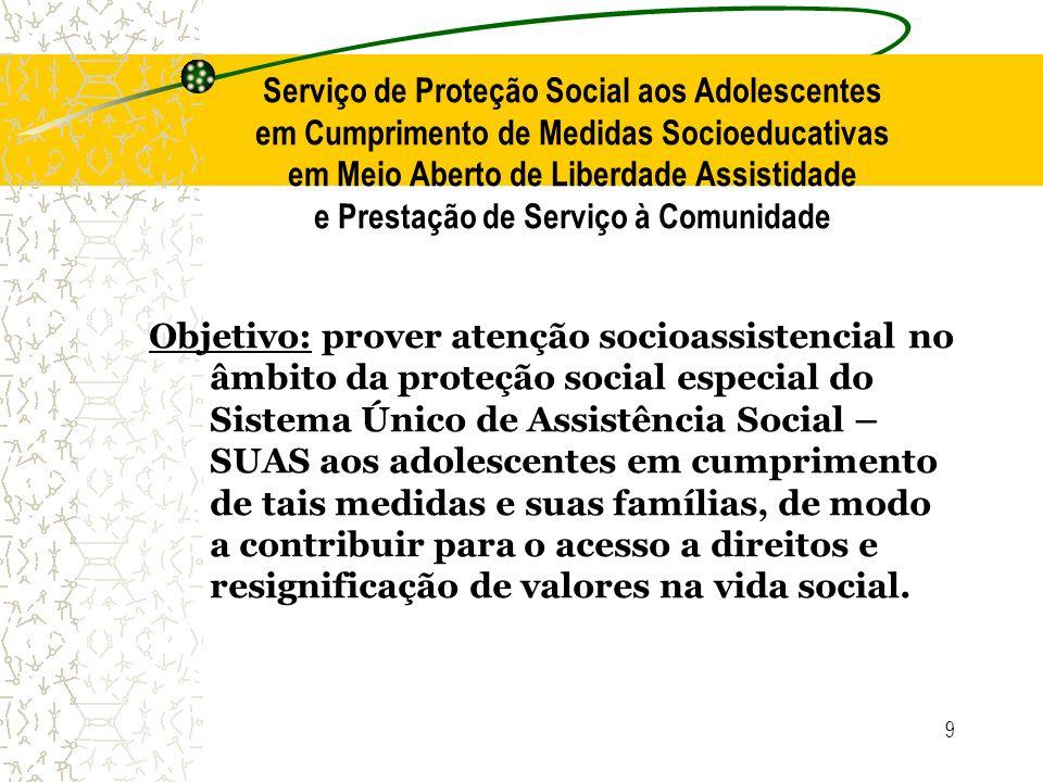 9 Serviço de Proteção Social aos Adolescentes em Cumprimento de Medidas Socioeducativas em Meio Aberto de Liberdade Assistidade e Prestação de Serviço