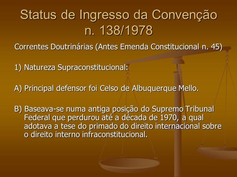 Status de Ingresso da Convenção n.138/1978 Correntes Doutrinárias (Antes Emenda Constitucional n.