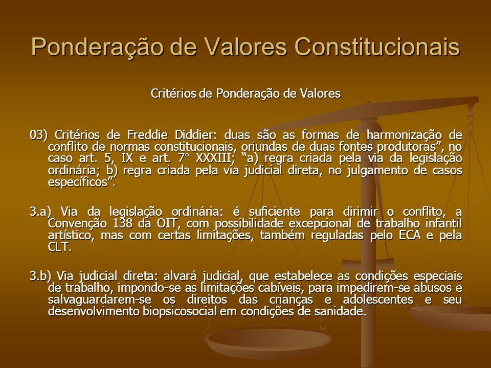 Ponderação de Valores Constitucionais Critérios de Ponderação de Valores 03) Critérios de Freddie Diddier: duas são as formas de harmonização de conflito de normas constitucionais, oriundas de duas fontes produtoras, no caso art.