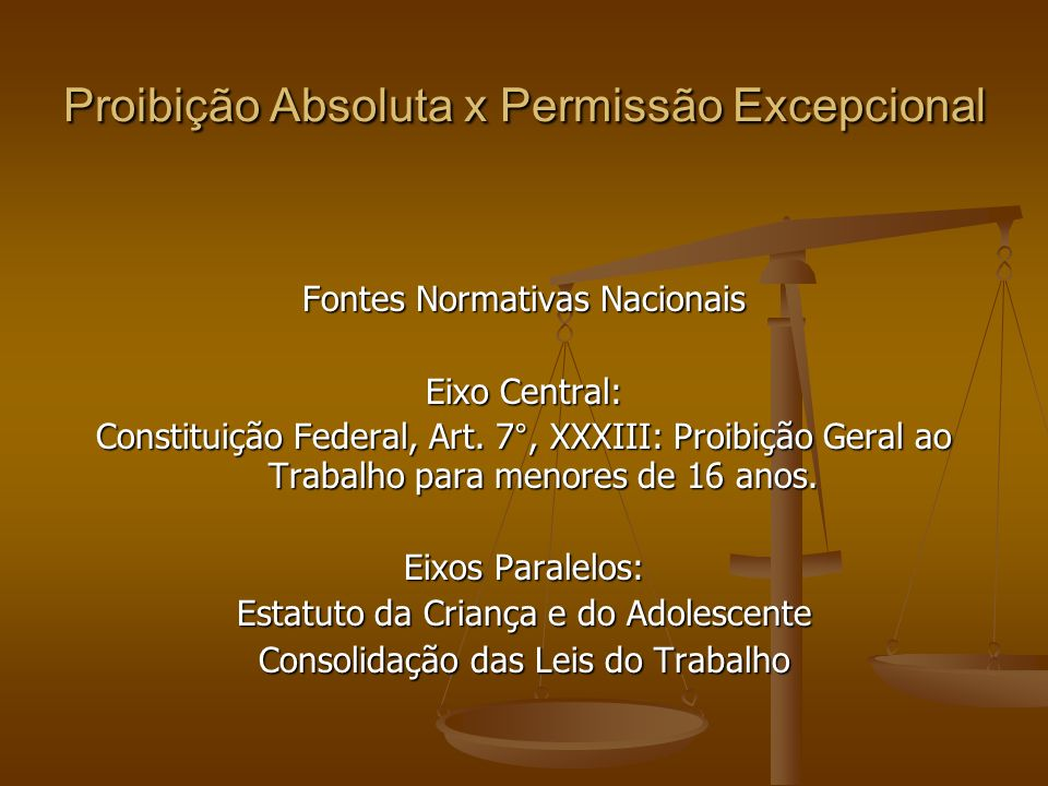Proibição Absoluta x Permissão Excepcional Fontes Normativas Nacionais Eixo Central: Constituição Federal, Art.