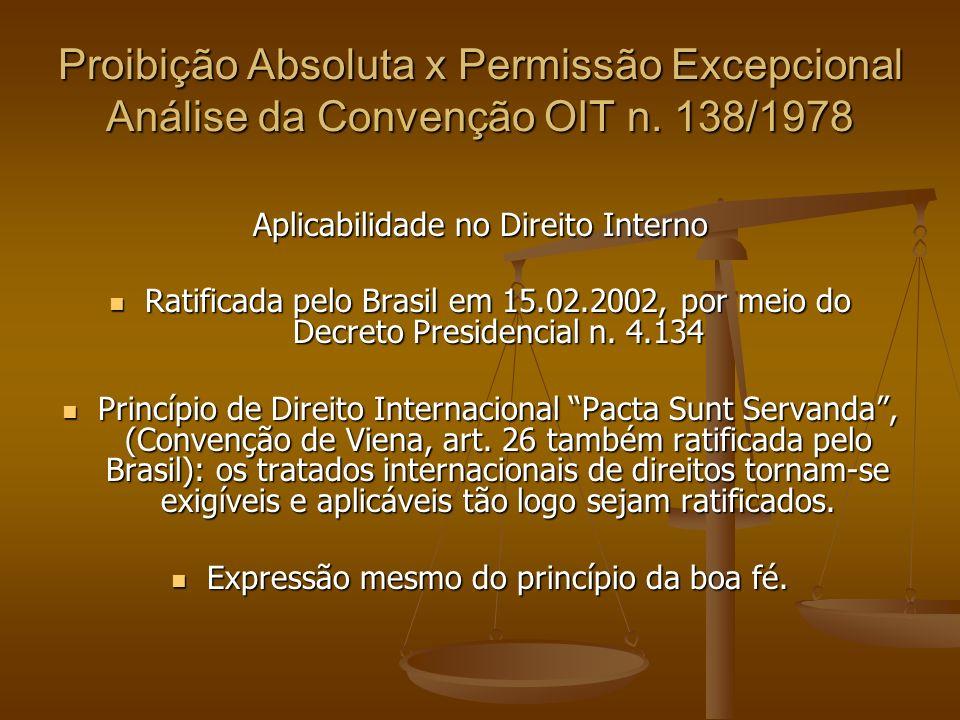Status de Ingresso da Convenção n.138/1978 b.3.3) Destaque para voto do Min.