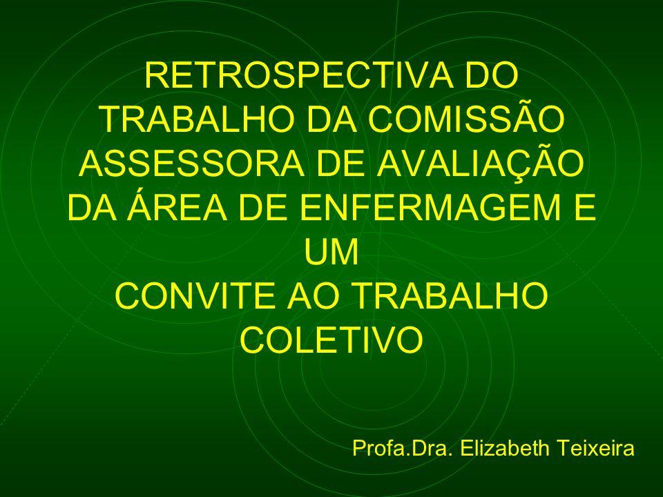 RETROSPECTIVA DO TRABALHO DA COMISSÃO ASSESSORA DE AVALIAÇÃO DA ÁREA DE ENFERMAGEM E UM CONVITE AO TRABALHO COLETIVO Profa.Dra. Elizabeth Teixeira
