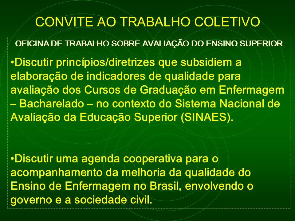 OFICINA DE TRABALHO SOBRE AVALIAÇÃO DO ENSINO SUPERIOR Discutir princípios/diretrizes que subsidiem a elaboração de indicadores de qualidade para aval