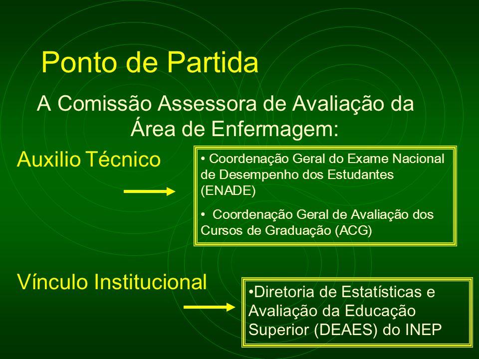 Ponto de Partida A Comissão Assessora de Avaliação da Área de Enfermagem: Auxilio Técnico Vínculo Institucional Coordenação Geral do Exame Nacional de