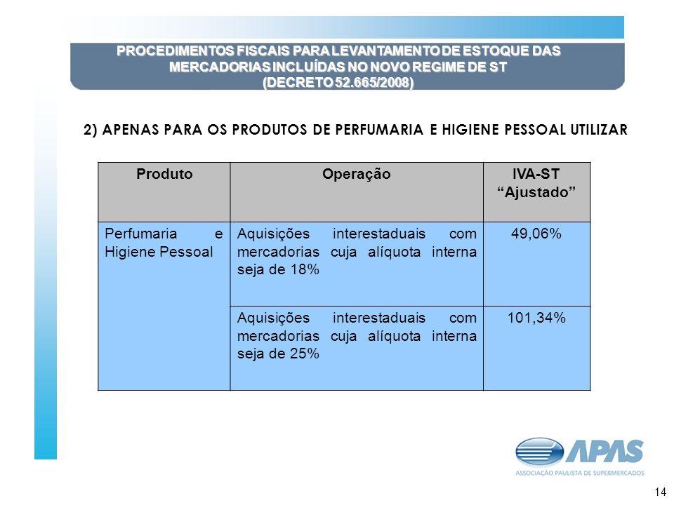 15 PROCEDIMENTOS FISCAIS PARA LEVANTAMENTO DE ESTOQUE DAS MERCADORIAS INCLUÍDAS NO NOVO REGIME DE ST (DECRETO 52.665/2008) 2) APENAS PARA OS PRODUTOS