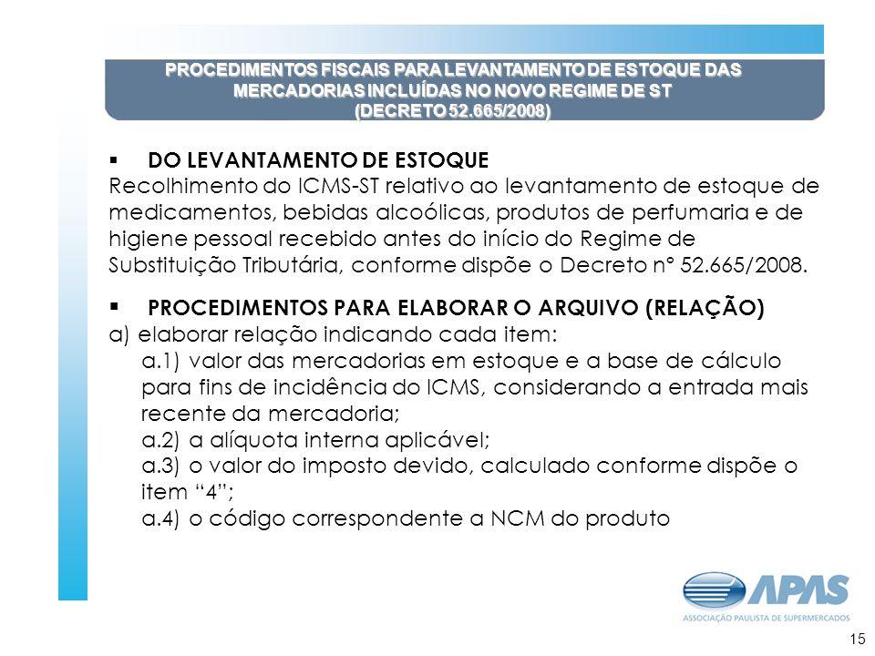 16 PROCEDIMENTOS FISCAIS PARA LEVANTAMENTO DE ESTOQUE DAS MERCADORIAS INCLUÍDAS NO NOVO REGIME DE ST (DECRETO 52.665/2008) DO LEVANTAMENTO DE ESTOQUE