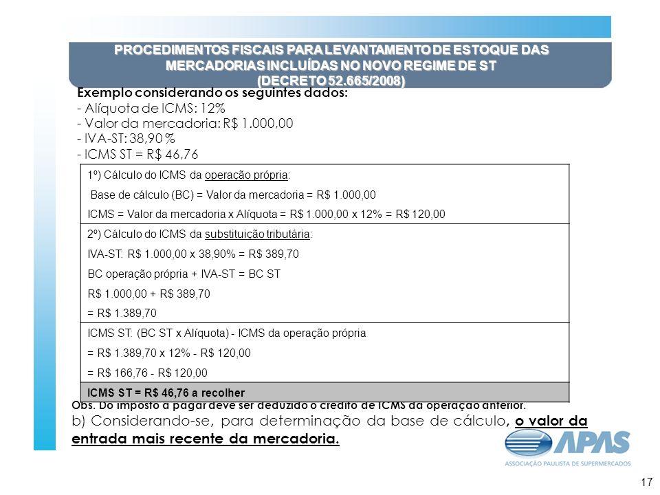 18 PROCEDIMENTOS FISCAIS PARA LEVANTAMENTO DE ESTOQUE DAS MERCADORIAS INCLUÍDAS NO NOVO REGIME DE ST (DECRETO 52.665/2008) Exemplo considerando os seguintes dados: - Alíquota de ICMS: 12% - Valor da mercadoria: R$ 1.000,00 - IVA-ST: 38,90 % - ICMS ST = R$ 46,76 Obs.
