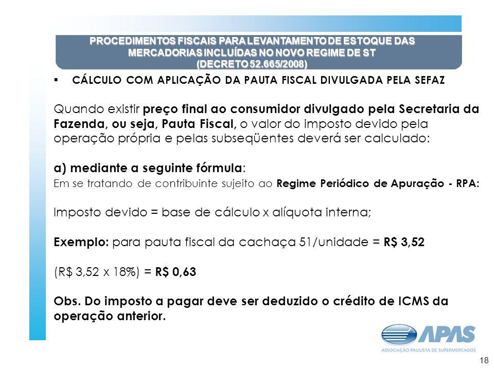 19 PROCEDIMENTOS FISCAIS PARA LEVANTAMENTO DE ESTOQUE DAS MERCADORIAS INCLUÍDAS NO NOVO REGIME DE ST (DECRETO 52.665/2008) CÁLCULO COM APLICAÇÃO DA PA