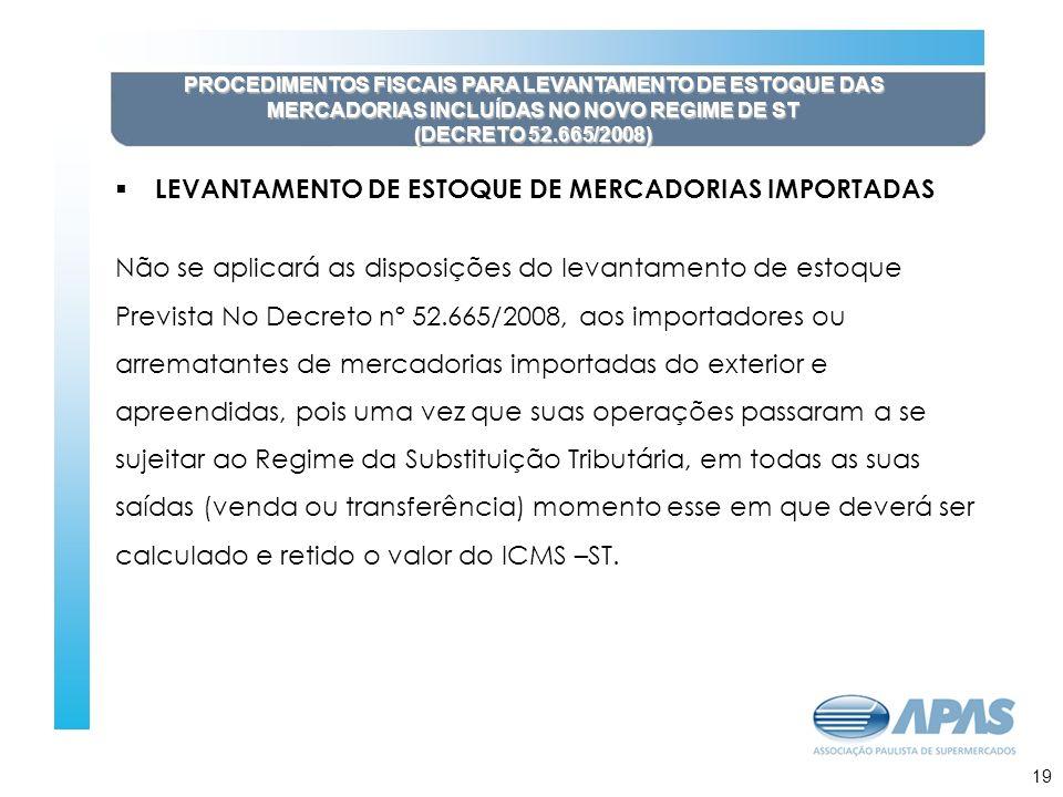 20 PROCEDIMENTOS FISCAIS PARA LEVANTAMENTO DE ESTOQUE DAS MERCADORIAS INCLUÍDAS NO NOVO REGIME DE ST (DECRETO 52.665/2008) LEVANTAMENTO DE ESTOQUE DE MERCADORIAS IMPORTADAS Não se aplicará as disposições do levantamento de estoque Prevista No Decreto nº 52.665/2008, aos importadores ou arrematantes de mercadorias importadas do exterior e apreendidas, pois uma vez que suas operações passaram a se sujeitar ao Regime da Substituição Tributária, em todas as suas saídas (venda ou transferência) momento esse em que deverá ser calculado e retido o valor do ICMS –ST.