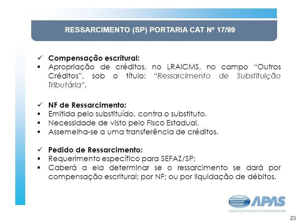 RESSARCIMENTO (SP) PORTARIA CAT Nº 17/99 Compensação escritural: Apropriação de créditos, no LRAICMS, no campo Outros Créditos, sob o título: Ressarci