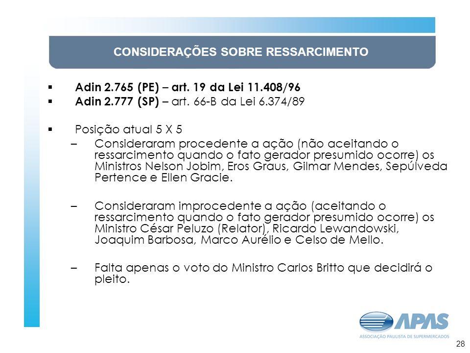 29 CONSIDERAÇÕES SOBRE RESSARCIMENTO Adin 2.765 (PE) – art.