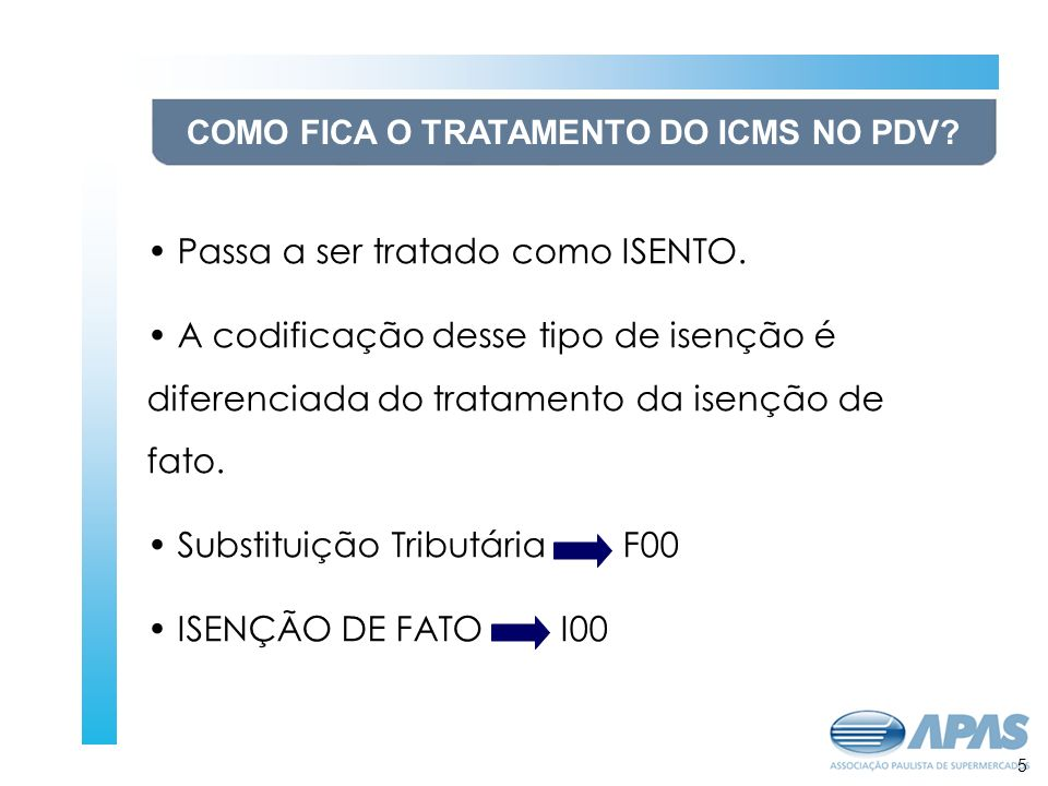 6 COMO FICA O TRATAMENTO DO ICMS NO PDV.Passa a ser tratado como ISENTO.
