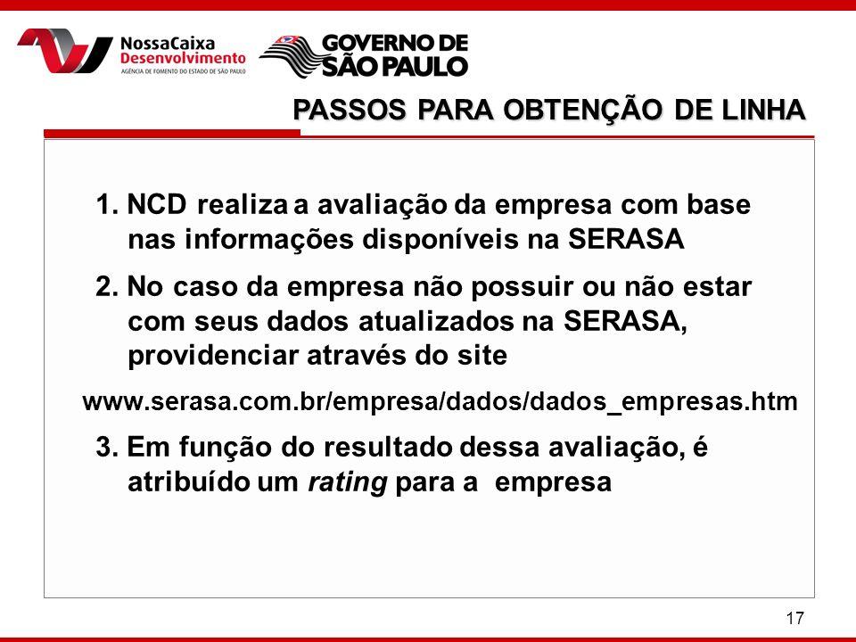 17 1. NCD realiza a avaliação da empresa com base nas informações disponíveis na SERASA 2. No caso da empresa não possuir ou não estar com seus dados