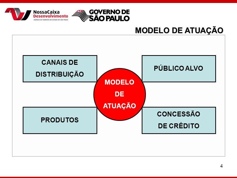 4 MODELO DE ATUAÇÃO CANAIS DE DISTRIBUIÇÃO CONCESSÃO DE CRÉDITO PÚBLICO ALVO PRODUTOS MODELO DE ATUAÇÃO